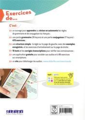Exercices de grammaire & conjugaison du français ; A1 - 4ème de couverture - Format classique