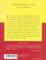 La Quadrature Du Cercle Et Le Nombre Pi No29 - 4ème de couverture - Format classique