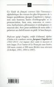 Guide du français correct ; pièges et difficultés de la langue française de A à Z - 4ème de couverture - Format classique