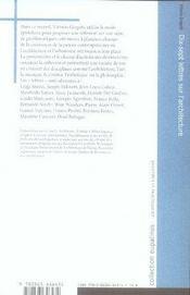 Dix-sept lettres sur l'architecture - 4ème de couverture - Format classique