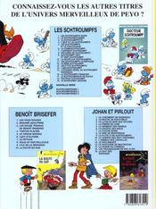 Les Schtroumpfs T.19 ; le Schtroumpf sauvage - 4ème de couverture - Format classique