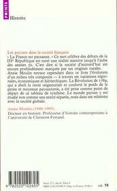 Les paysans dans la société française ; de la Révolution à nos jours - 4ème de couverture - Format classique