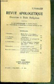 REVUE D'APOLOGETIQUE - DOCTRINE & FAIT RELIGIEUX - N° 400 - 15 DECEMBRE 1922 - Maurice Denis et l'art religieux, à propos des recentes publications par F. Pinardel -