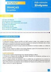 Bts/dut ; Francais ; La Synthese - Intérieur - Format classique