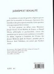 Judaisme et sexualite - 4ème de couverture - Format classique