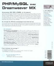 PHP/MySQL avec Dreamweaver MX - 4ème de couverture - Format classique