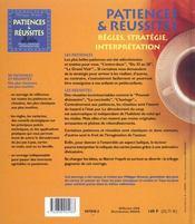 Patiences et reussites ; regles strategie et interpretation - 4ème de couverture - Format classique