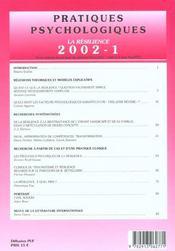 Pratiques psychologiques n 1 2002 - 4ème de couverture - Format classique