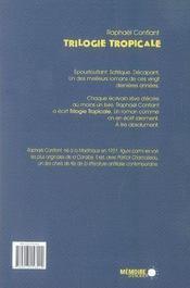 Trilogie tropicale - 4ème de couverture - Format classique