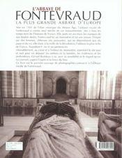 L'abbaye de fontevraud - 4ème de couverture - Format classique