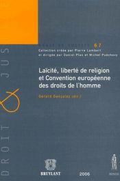 Laïcité, liberté de religion et convention européenne des droits de l'homme - Intérieur - Format classique