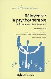 Réinventer la psychothérapie ; l'école de Mara Selvini-Palazzoli - Intérieur - Format classique