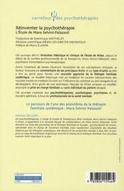 Réinventer la psychothérapie ; l'école de Mara Selvini-Palazzoli - 4ème de couverture - Format classique