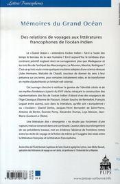 Mémoires du grand océan. des relations de voyages aux littératures francophones de l'océan indien - 4ème de couverture - Format classique