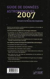 Guide de données astronomiques pour l'observation du ciel (édition 2007) - 4ème de couverture - Format classique