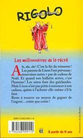 Rigolo t.8 ; millionnaire de la récré - 4ème de couverture - Format classique
