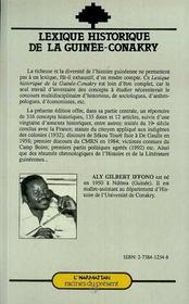 Lexique Historique De La Guinee-Conakry - 4ème de couverture - Format classique