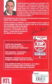 Stop aux arnaques ! special patrimoine - 4ème de couverture - Format classique
