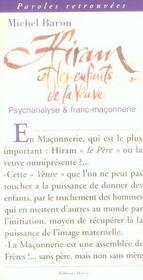 Hiram et les enfants de la veuve ; psychanalyse et franc-maconnerie - Intérieur - Format classique