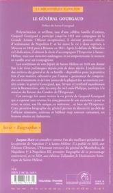 Le general gourgaud - 4ème de couverture - Format classique