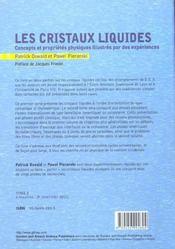 Les cristaux liquides t.1 ; concepts et proprietes physiques illustres par des experiences - 4ème de couverture - Format classique