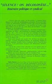 Silence ! On Decolonise ; Itineraire Politique Et Syndical D'Un Militant Africain - 4ème de couverture - Format classique