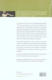 Anatomie fonctionnelle de l'appareil locomoteur ; os, articulations, muscles (3e édition) - 4ème de couverture - Format classique