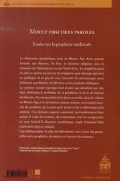 Moult obscures paroles. études sur la prophétie médiévale - 4ème de couverture - Format classique