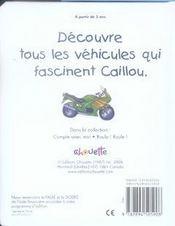 Caillou roule roule - 4ème de couverture - Format classique