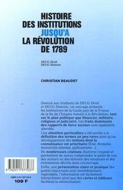 Histoire des institutions jusqu'à la Révolution de 1789. DEUG droit, DEUG histoire - 4ème de couverture - Format classique