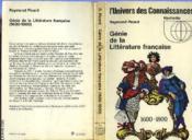 Genie De La Litterature Francaise - 1600 - 1800 - Couverture - Format classique