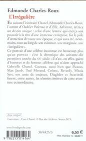 L'irrégulière - 4ème de couverture - Format classique