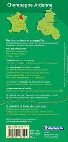 Le Guide Vert ; Champagne Ardenne - 4ème de couverture - Format classique