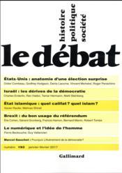 Revue Le Débat N.193 ; janvier 2017 - Couverture - Format classique