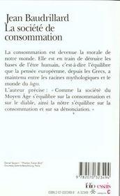 La société de consommation, ses mythes, ses structures - 4ème de couverture - Format classique