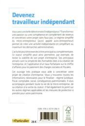 Devenez travailleur indépendant (édition 2020) - 4ème de couverture - Format classique