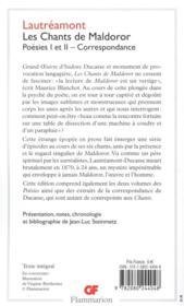 Les chants de Maldoror ; poésies t.1, t.2 ; correspondance - 4ème de couverture - Format classique