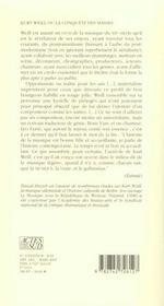 Kurt Weill Ou La Conquete Des Masses - 4ème de couverture - Format classique