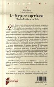 Les bourgeoises au pensionnat ; l'éducation féminine au XIX siècle - 4ème de couverture - Format classique