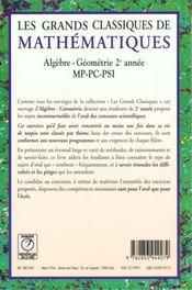 Grands classiques de maths mp pc pt psi algebre geometrie - 4ème de couverture - Format classique