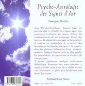 Psycho-astrologie des signes d'air ; gémeaux-balance-verseaux - 4ème de couverture - Format classique