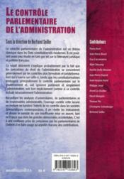 Le contrôle parlementaire de l'administration - 4ème de couverture - Format classique