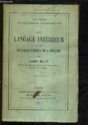 Le Langage Interieur Et Les Diverses Formes De L'Aphasie. - Couverture - Format classique