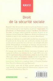 Droit De La Securite Sociale - 4ème de couverture - Format classique
