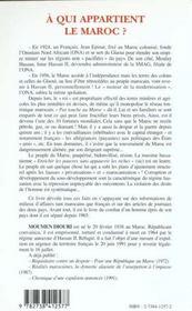 A Qui Appartient Le Maroc - 4ème de couverture - Format classique