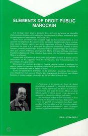 Elements De Droit Public Marocain - 4ème de couverture - Format classique