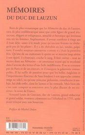 Memoires du duc de lauzun - 4ème de couverture - Format classique