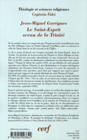 Le Saint-Esprit sceau de la Trinité ; le Filioque et l'originalité trinitaire de l'Esprit dans sa personne et dans sa mission - 4ème de couverture - Format classique