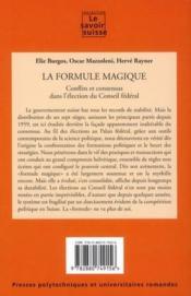 La formule magique ; conflits et consensus partisans dans l'élection du conseil fédéral - Couverture - Format classique