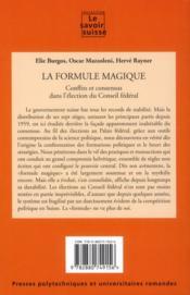 La formule magique ; conflits et consensus partisans dans l'élection du conseil fédéral - 4ème de couverture - Format classique